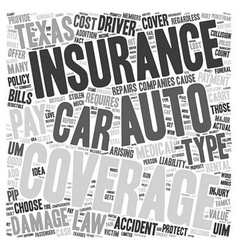 Auto Insurance Texas text background wordcloud vector