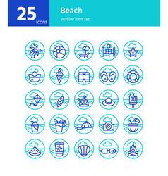 beach outline icon set vector image