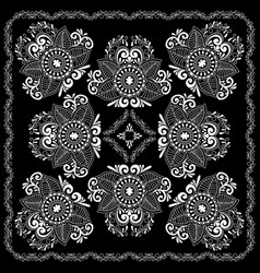 Black and white abstract bandana print vector
