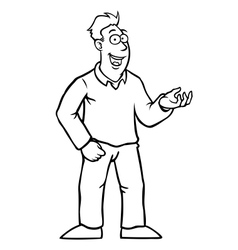 Black and white man with thumbs up vector image