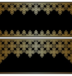 black card with gold vintage ornament vector image