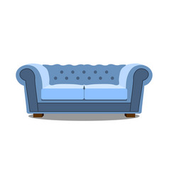 blue sofa on white icon realistic modern vector image