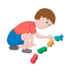 Boy playing with toy train vector image
