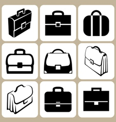 Briefcase icons set vector