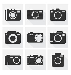 camera icon set on white background with long vector image