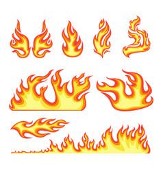 cartoon color different fire element set vector image