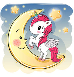 Cartoon unicorn girl on the moon vector