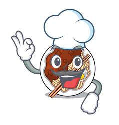 Chef jajangmyeon in a cartoon shape vector