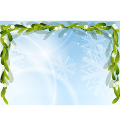 christmas background with green mistletoe vector image