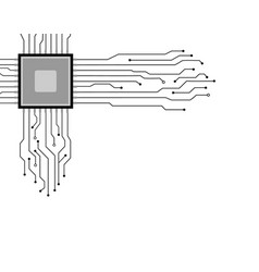 circuit board cpu white background technology vector image