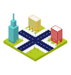 City intersection road icon isometric style vector