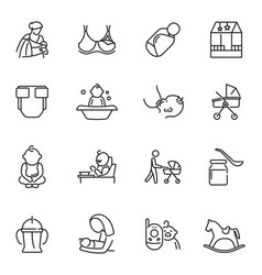 Collection nursery mother father baby care vector