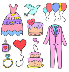 Collection of wedding element doodles style vector