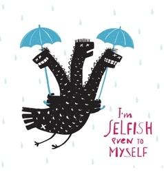 Comic Selfish Dragon in Rain with Umbrella Rough vector