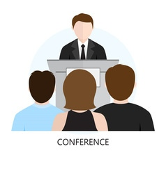 Conference Icon Flat Design Concept vector