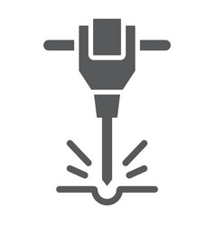 Construction jackhammer glyph icon vector