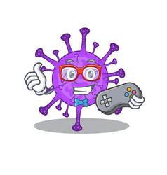 Cool gamer bovine coronavirus with controller vector