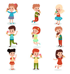 cute children feeling happy with their ice cream vector image
