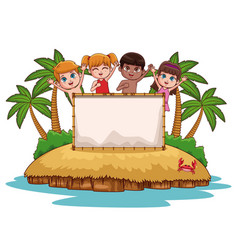 cute kids at beach vector image