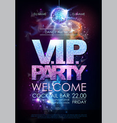 Disco ball background disco vip party poster on vector