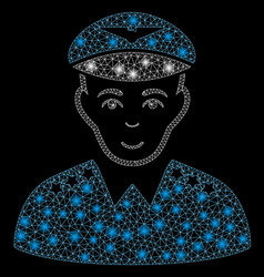 flare mesh 2d military pilot officer with flare vector image