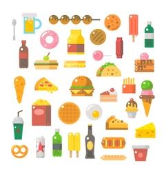 Flat design junk food set vector