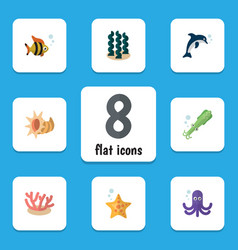 Flat icon nature set of algae alga seafood and vector