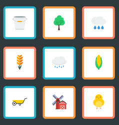 Flat icons poultry landscape maize vector