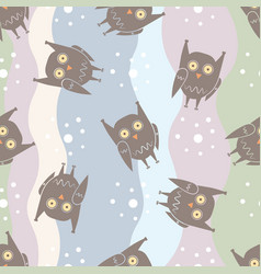 flat seamless pattern with funny owls on colorful vector image