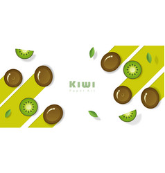 fresh kiwi fruit background in paper art style vector image