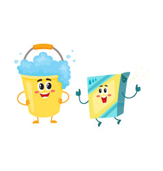 funny washing powder laundry detergent and soap vector image