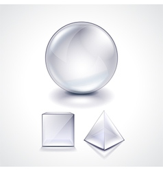 Glass sphere cube and pyramid vector