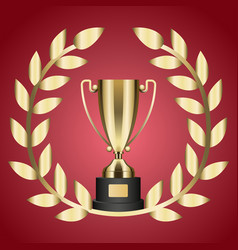 gold trophy for victory and laurel branch isolated vector image