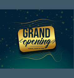 Grand opening golden banner design vector