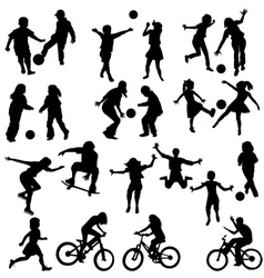 Group of active children vector