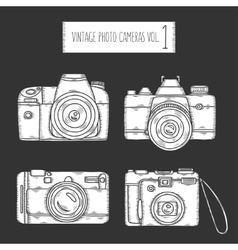 Hand drawn photo cameras set vintage vector image
