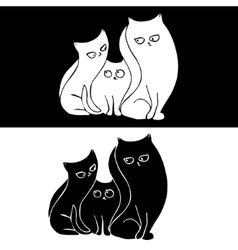 Hand drawn stylized cat family Black and white vector