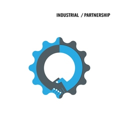 Handshake and gear abstract design vector image