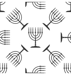 Hanukkah menorah icon pattern on white background vector