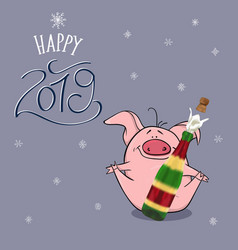 happy new year 2019 with funny pink pig vector image
