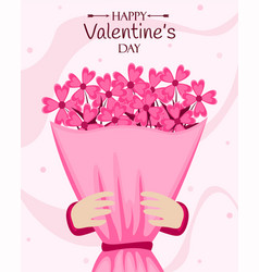 happy valentines day poster with flower bouquet vector image