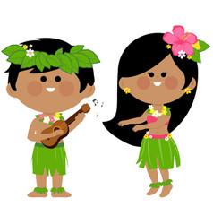 Hawaiian children playing music and hula dancing vector