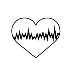 Heart with cardiogram sketch linear icon vector