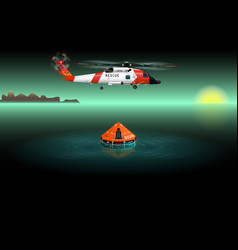 helicopter of rescuers rescue raft vector image
