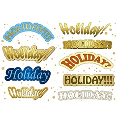 holiday - gold stickers vector image