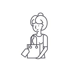 housewife line icon concept housewife vector image