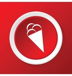 Ice cream icon on red vector