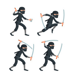 japanese secret assassin cartoon ninja characters vector image