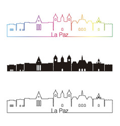 la paz skyline linear style with rainbow vector image