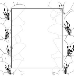 Lily flower outline banner card border vector
